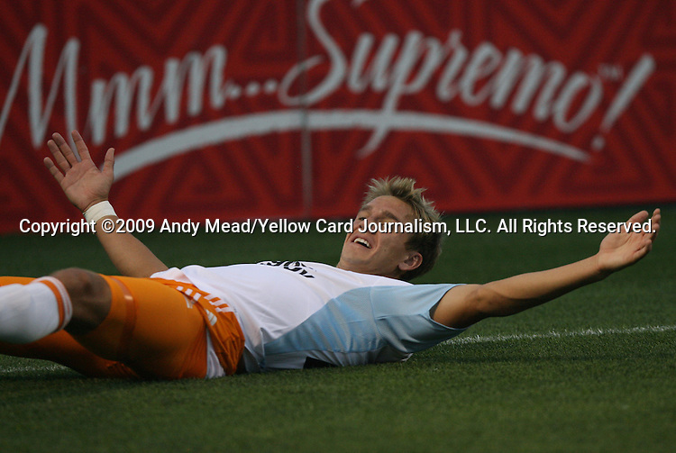 05 June 2009: Houston's Stuart Holden celebrates his goal. The Houston Dynamo defeated the Chicago Fire 1-0 at Toyota Park in Bridgeview, Illinois in a regular season Major League Soccer game.