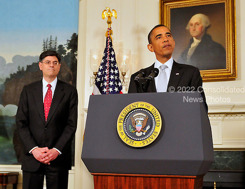 """United States President Barack Obama, right, announces he has named Jacob J. """"Jack"""" Lew, left, to serve as Director of the Office of Management and Budget (OMB) in the Diplomatic Reception Room of the White House in Washington, D.C. on Tuesday, July 13, 2010..Credit: Ron Sachs - Pool via CNP"""
