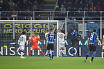 Romelu Lukaku of Inter hits the crossbar with a back heel that was then fired home by Borja Valero, to give the side a 2-0 lead during the Coppa Italia match at Giuseppe Meazza, Milan. Picture date: 14th January 2020. Picture credit should read: Jonathan Moscrop/Sportimage