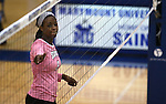 Marymount's Morgan McAlpin waits for the serve in a college volleyball match against Shenandoah at Marymount University in Arlington, Vir., on Tuesday, Oct. 8, 2013.<br /> Photo by Cathleen Allison