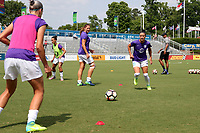 Cary, North Carolina  - Saturday April 29, 2017: Ali Krieger and Laura Alleway prior to regular season National Women's Soccer League (NWSL) match between the North Carolina Courage and the Orlando Pride at Sahlen's Stadium at WakeMed Soccer Park.