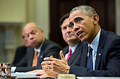 From left, Jeh Johnson, Secretary of Homeland Security, Ron Klain, Ebola Response Coordinator, look on as noted States President Barack Obama speaks to the media during a meeting with his national security and public health teams concerning the government's Ebola response, in the Roosevelt Room of the White House, on November 18, 2014, in Washington, DC.  President Obama called on Congress to approve $6.2 billion in emergency spending to fight Ebola in West Africa.  <br /> Credit: Drew Angerer / Pool via CNP