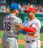 New York Mets manager Mickey Callaway (36) greets Washington Nationals manager Dave Martinez (4) prior to the game at Nationals Park in Washington, D.C. on Thursday, April 5, 2018.<br /> Credit: Ron Sachs / CNP<br /> (RESTRICTION: NO New York or New Jersey Newspapers or newspapers within a 75 mile radius of New York City)