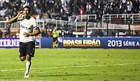 SAO PAULO, SP, 25 MAIO 2013 - CAMPEONATO BRASILEIRO - CORINTHIANS X BOTAFOGO - Paulinho do Corinthians comemora seu gol durante partida contra o Botafogo pela primeira rodada do Campeonato Brasileiro no Estadio Paulo Machado de Carvalho, o Pacaembu em São Paulo, neste sabado, 25. (FOTO: WILLIAM VOLCOV / BRAZIL PHOTO PRESS).
