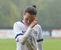 20190409  - Tubize , BELGIUM : Finland's Joanna Tynnila pictured disappointed after  the soccer match between the women under 19 teams of Switzerland and Finland , on the third matchday in group 2 of the UEFA Women Under19 Elite rounds in Tubize , Belgium. Tuesday 9 th April 2019 . PHOTO DIRK VUYLSTEKE / Sportpix.be