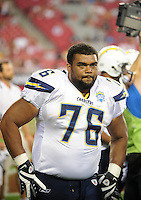Aug. 22, 2009; Glendale, AZ, USA; San Diego Chargers defensive tackle Jamal Williams against the Arizona Cardinals during a preseason game at University of Phoenix Stadium. Mandatory Credit: Mark J. Rebilas-