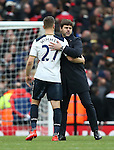 Tottenham's Mauricio Pochettino hugs Kevin Wimmer at the final whistle during the Premier League match at the Emirates Stadium, London. Picture date November 6th, 2016 Pic David Klein/Sportimage
