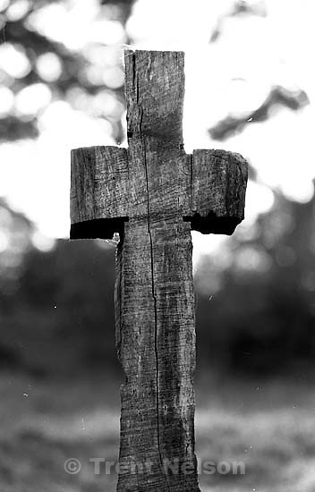 Old wooden cross at old sanitarium.<br />