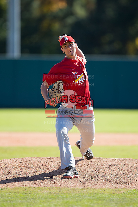 Carter Bach (53) of Centreville High School in Clifton, Virginia playing for the St. Louis Cardinals scout team at the South Atlantic Border Battle at Doak Field on November 2, 2014.  (Brian Westerholt/Four Seam Images)