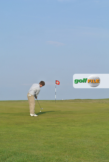 Jack Hume (Naas) on the 3rd during the Semi-Finals of The West of Ireland Amateur Open in Co. Sligo Golf Club on Tuesday 22nd April 2014.<br /> Picture:  Thos Caffrey / www.golffile.ie