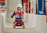 5 December 2015: Kimberley McRae, competing for Canada, crosses the finish line on her second run of the Viessmann World Cup Women's Luge, with a combined 2-run time of 1:29.153 and a 14th place result at the Olympic Sports Track in Lake Placid, New York, USA. Mandatory Credit: Ed Wolfstein Photo *** RAW (NEF) Image File Available ***