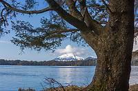 View of Mount Edgecumbe on Kruzof Island across Sitka Sound, Southeast, Alaska.