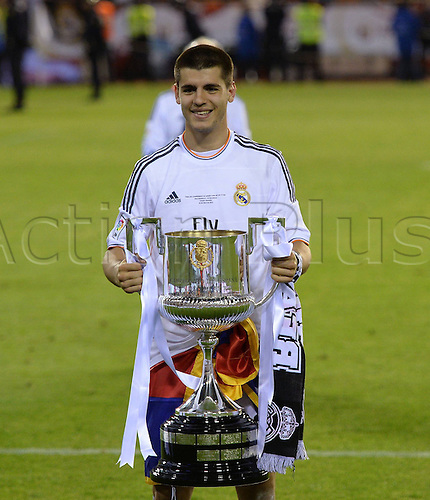 16.04.2014. Mestalla, Valencia, Spain. Copa Del Rey Cup final. Barcelona versus Real Madrid. Alvaro Morata (Real Madrid)