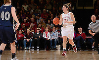 STANFORD, CA - DECEMBER 28: Toni Kokenis of Stanford women's basketball brings the ball down-court in a game against Xavier on December 28, 2010 at Maples Pavilion in Stanford, California.  Stanford topped Xavier, 89-52.