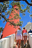 tourists climbing stairs to Jupiter Inlet Lighthouse, Jupiter, Florida, USA, Atlantic Ocean, No MR