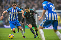 Eden Hazard of Chelsea (10) and Tomer Hemed of Brighton & Hove Albion (10)  during the Premier League match between Brighton and Hove Albion and Chelsea at the American Express Community Stadium, Brighton and Hove, England on 20 January 2018. Photo by Edward Thomas / PRiME Media Images.