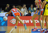 Paige Hadley chases the ball during the ANZ Netball Championship match between the Central Pulse and NSW Swifts at TSB Bank Arena, Wellington, New Zealand on Saturday, 25 April 2015. Photo: Dave Lintott / lintottphoto.co.nz