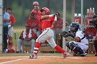 Philadelphia Phillies Grenny Cumana (12) at bat in front of catcher Eduardo Valencia (60) during an Instructional League game against the Detroit Tigers on September 19, 2019 at Tigertown in Lakeland, Florida.  (Mike Janes/Four Seam Images)