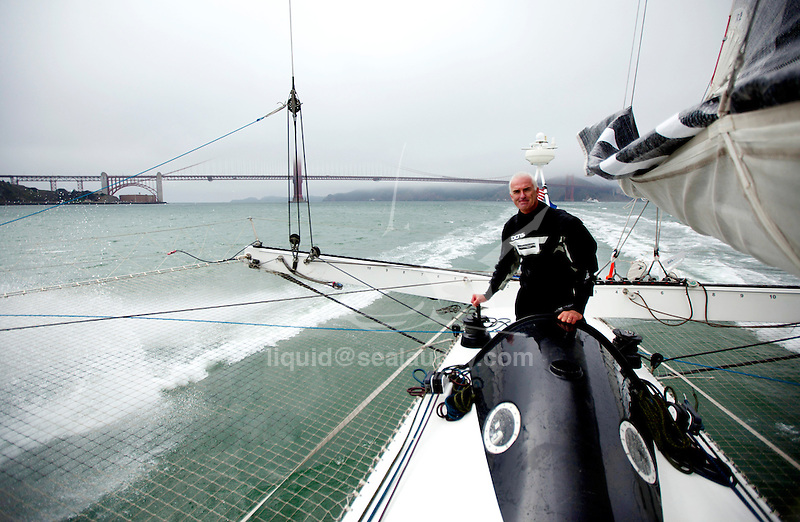 Onboard L'Hydroptère DCNS, Alain Thébault and his crew (Jacques Vincent, Yves Parlier, Jean Le Cam, Robert Douglas) sailing in San Francisco, California, USA.