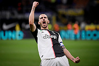 Leonardo Bonucci of Juventus celebrates at the end of the match <br /> Milano 6-10-2019 Stadio Giuseppe Meazza <br /> Football Serie A 2019/2020 <br /> FC Internazionale - Juventus FC <br /> Photo Federico Tardito / Insidefoto
