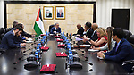 Palestinian Prime Minister Mohammad Ishtayeh, receives a delegation from the US Congress in the West Bank city of Ramallah, on October 02, 2019. Photo by Prime Minister Office