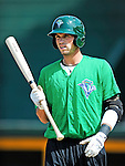 2 July 2011: Vermont Lake Monsters' outfielder Jordan Tripp awaits his turn in the batting cage prior to a game against the Tri-City ValleyCats at Centennial Field in Burlington, Vermont. The Lake Monsters rallied from a 4-2 deficit to defeat the ValletCats 7-4 in NY Penn League action. Mandatory Credit: Ed Wolfstein Photo