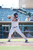 Dylan Davis (43) of the San Jose Giants bats against the Lancaster JetHawks during the first game of a doubleheader at The Hanger on July 14, 2016 in Lancaster, California. Lancaster defeated San Jose, 3-0. (Larry Goren/Four Seam Images)