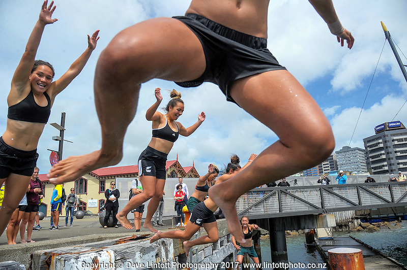 The Black Ferns Sevens team leap into the harbour during the Sevens celebration week Wharf Jump on Wellington harbour waterfront in Wellington, New Zealand on Friday, 27 January 2017. Photo: Dave Lintott / lintottphoto.co.nz