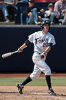 Austin Kingsolver #23 of the Cal State Fullerton Titans bats against the TCU Horned Frogs at Goodwin Field on February 26, 2012 in Fullerton,California. Fullerton defeated TCU 11-10.(Larry Goren/Four Seam Images)