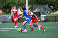 Boston, MA - Saturday July 01, 2017: Megan Oyster and Meggie Dougherty Howard during a regular season National Women's Soccer League (NWSL) match between the Boston Breakers and the Washington Spirit at Jordan Field.