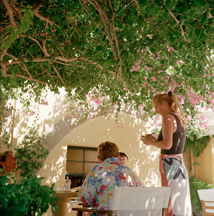 Cafe in summer on the island of Rhodes, Greece