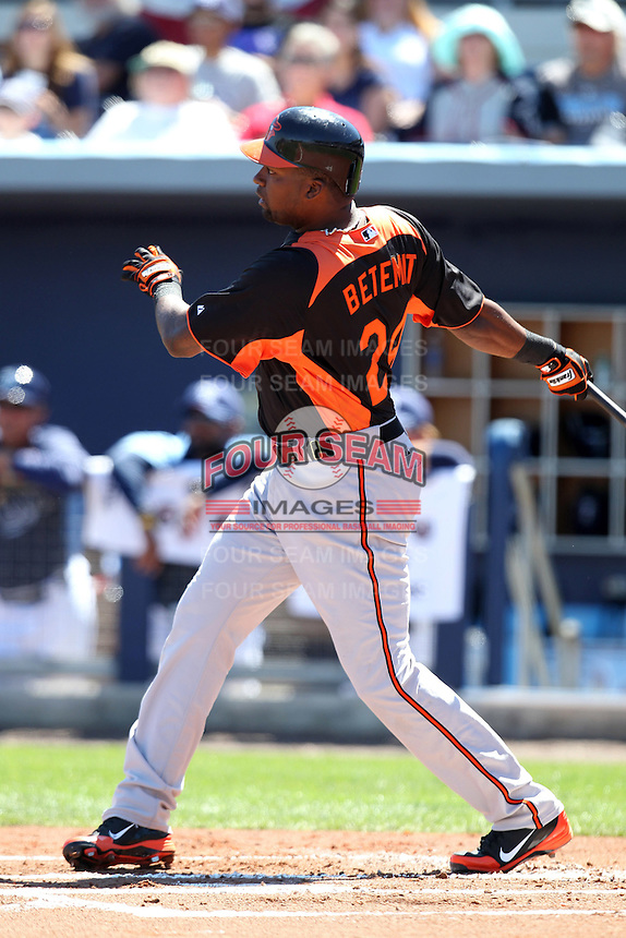 Baltimore Orioles first baseman Wilson Betemit #24 at bat during a spring training game against the Tampa Bay Rays at the Charlotte County Sports Park on March 5, 2012 in Port Charlotte, Florida.  (Mike Janes/Four Seam Images)