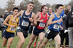 EVANSVILLE, IN - NOVEMBER 18: Matt Reimels (177) of Merrimack College, Ryan Alexander (222) of Rogers State University, Zach Polley (116) of Dallas Baptist University and Tripp Maloy of the University of Alabama-Huntsville compete during Division II Men's Cross Country Championship held at the Angel Mounds on November 18, 2017 in Evansville, Indiana. (Photo by Tim Broekema/NCAA Photos/NCAA Photos via Getty Images)