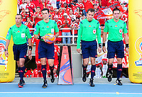 CALI - COLOMBIA -04-02-2017: Andres Rojas (2 Izq.) arbitro, durante partido America de Cali y Rionegro Aguilas, por la fecha 1 de la Liga Aguila I 2017 jugado en el estadio Pascual Guerrero de la ciudad de Cali. / Andres Rojas, referee, during a match between America de Cali and Rionegro Aguilas, for the date 1 of the Liga Aguila I 2017 at the Pascual Guerrero stadium in Cali city. Photo: VizzorImage / Nelson Rios / Cont.