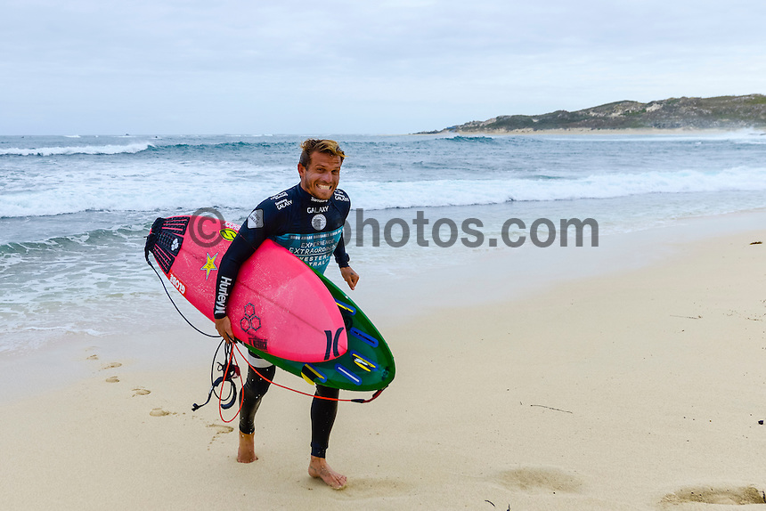 Margaret River, Western Australia. (Tuesday April 1, 2014) Yadin Nichol (AUS).–  The 2014 Drug Aware Margaret River Pro World Championship Tour event kicked off today in solid 6' surf.  Round 1 was completed in good conditions with a couple of upsets with local surfer and injury wildcard Yadin Nichol (AUS) defeating kelly Slater (USA) and Joel Parkinson (AUS) loosing to Adam Melling (AUS).  Photo: joliphotos.com