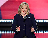 Governor Mary Fallin (Republican of Oklahoma) makes remarks at the 2016 Republican National Convention held at the Quicken Loans Arena in Cleveland, Ohio on Thursday, July 21, 2016.<br /> Credit: Ron Sachs / CNP<br /> (RESTRICTION: NO New York or New Jersey Newspapers or newspapers within a 75 mile radius of New York City)