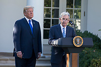 President of the United States Donald J. Trump's nominee for United States Federal Reserve Chairman Jerome Powell speaks with reporters as President Trump looks on in the Rose Garden at the White House in Washington, D.C. on November 2nd, 2017. Credit: Alex Edelman / CNP /MediaPunch