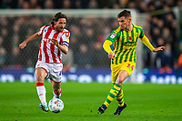 4th November 2019; Bet365 Stadium, Stoke, Staffordshire, England; English Championship Football, Stoke City versus West Bromwich Albion; Conor Townsend of West Bromwich Albion passes the ball across Joe Allen of Stoke City - Strictly Editorial Use Only. No use with unauthorized audio, video, data, fixture lists, club/league logos or 'live' services. Online in-match use limited to 120 images, no video emulation. No use in betting, games or single club/league/player publications