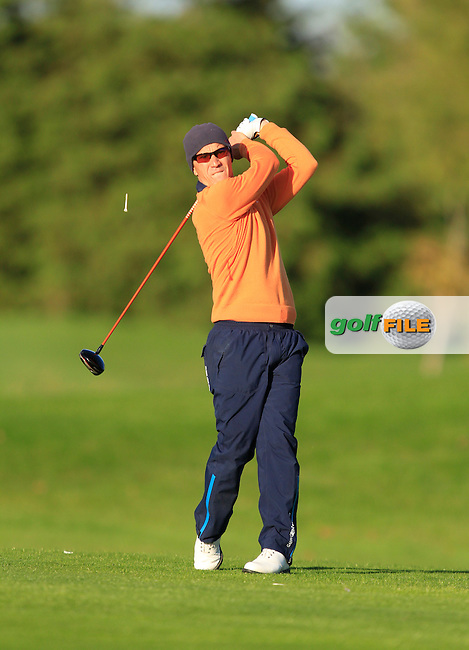 Jussi Pitkanen (Dave Pelz Scoring Game School) on the 13th tee during Round 1 of The Cassidy Golf 103rd Irish PGA Championship in Roganstown Golf Club on Thursday 10th October 2013.<br /> Picture:  Thos Caffrey / www.golffile.ie