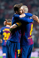FC Barcelona Lionel Messi and Andres Iniesta celebrating a goal during King's Cup Finals match between Sevilla FC and FC Barcelona at Wanda Metropolitano in Madrid, Spain. April 21, 2018. (ALTERPHOTOS/Borja B.Hojas)