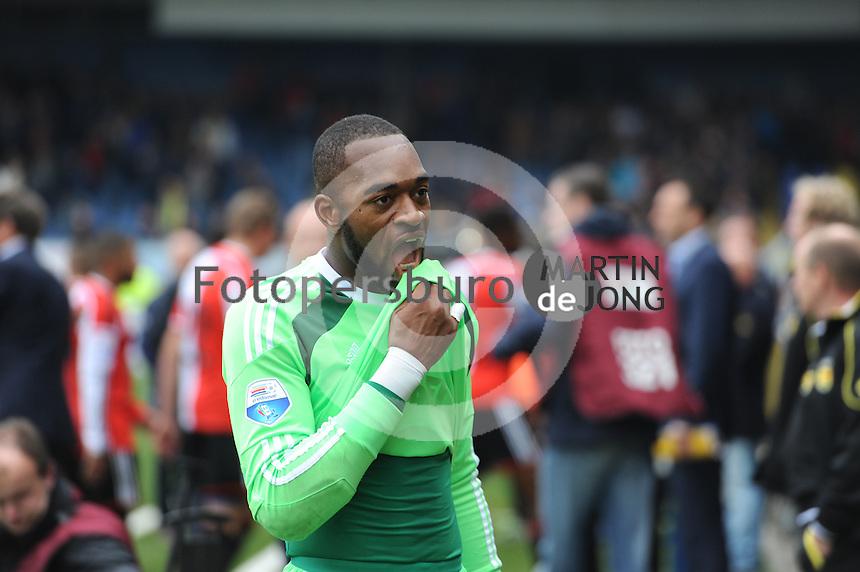 VOETBAL: LEEUWARDEN: 26-10-2014, Canbuurstadion, Cambuur - Feyenoord, uitslag 0-1, Kenneth Vermeer (keeper Feyenoord), ©foto Martin de Jong