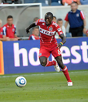 Chicago midfielder Dominic Oduro (8) speeds down the field.  The Chicago Fire defeated Toronto FC 2-0 at Toyota Park in Bridgeview, IL on August 21, 2011.