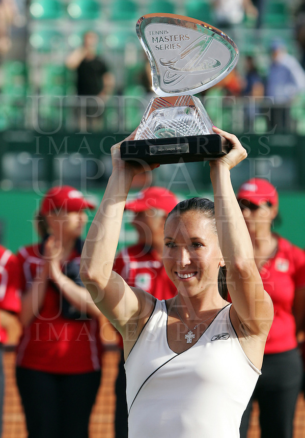 Internazionali d'Italia di tennis a Roma, 18 maggio 2008. Finale del torneo femminile..Italy's Masters tennis women's tournament in Rome, 18 may 2008. Final match. Serbia's Jelena Jankovic holds the Masters Series trophy..UPDATE IMAGES PRESS/Riccardo De Luca