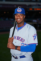 South Bend Cubs left fielder Eloy Jimenez (27) poses for a photo before a game against the Dayton Dragons on May 11, 2016 at Fifth Third Field in Dayton, Ohio.  South Bend defeated Dayton 2-0.  (Mike Janes/Four Seam Images)
