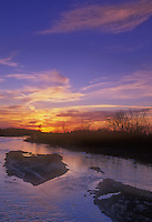 The sun sets over sandbars on the Platte River, Fort Kearney State Recreation Area, Buffalo County, Nebraska