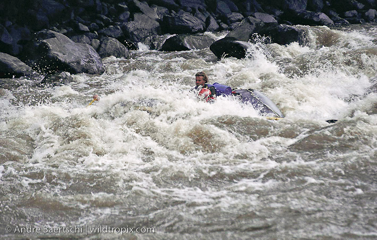 River rafting along the upper Rio Tambopata. Riverguide Stefan Zumsteg with clients guiding a raft through a rapid. Lowland tropical rainforest, Puno, Peru.