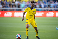 San Jose, CA - Saturday August 03, 2019: Harrison Afful #25 in a Major League Soccer (MLS) match between the San Jose Earthquakes and the Columbus Crew at Avaya Stadium.