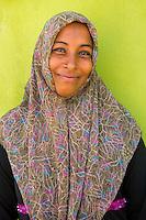 Maldives, Fenfushi Island, Muslim woman. Her father works at the Conrad Hilton. (MR)