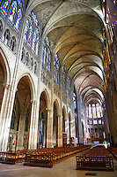 The naive of the Gothic Cathedral Basilica of Saint Denis ( Basilique Saint-Denis ) Paris, France. A UNESCO World Heritage Site.