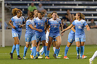 Chicago, IL - Wednesday Sept. 07, 2016: Chicago Red Stars, Christen Press celebrates scoring during a regular season National Women's Soccer League (NWSL) match between the Chicago Red Stars and FC Kansas City at Toyota Park.